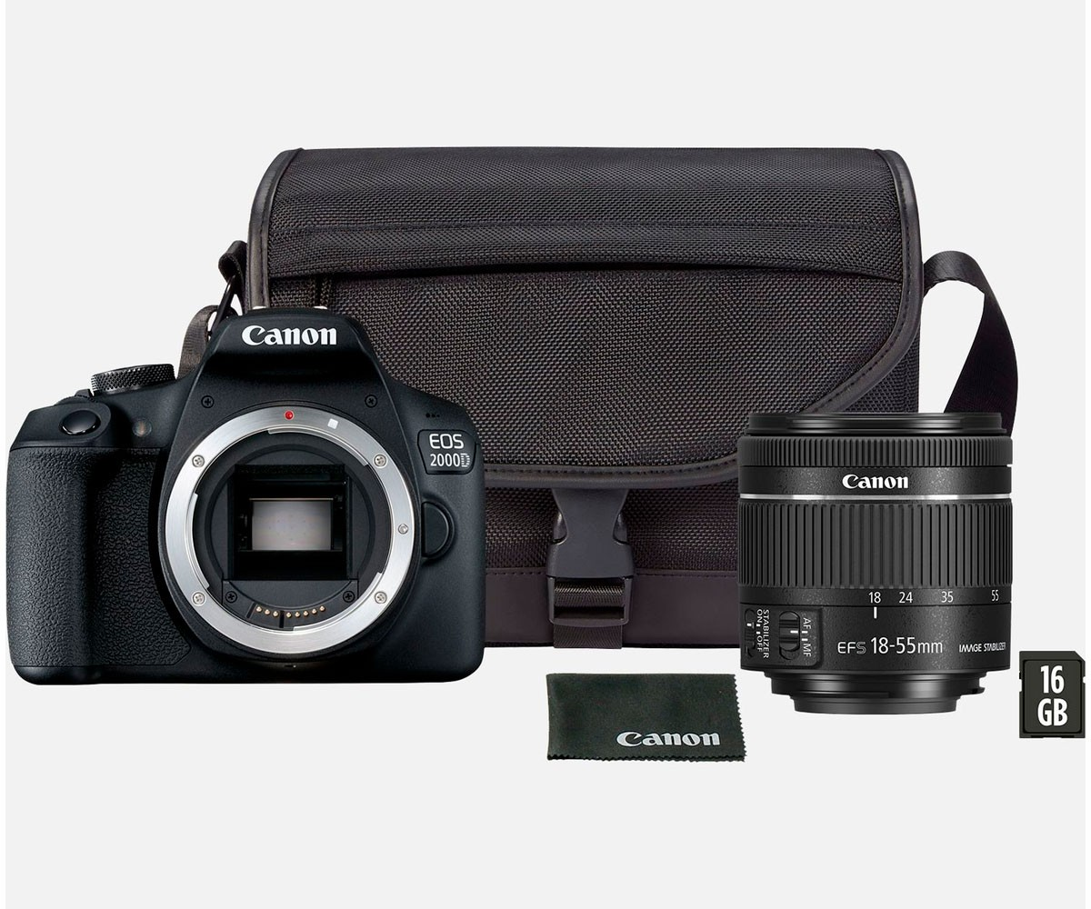 """Camera Fotos Canon Eos2000d Ef-S 18-55 Ii 24,1mp Lcd 3"""" Wifi Negra Pack"""