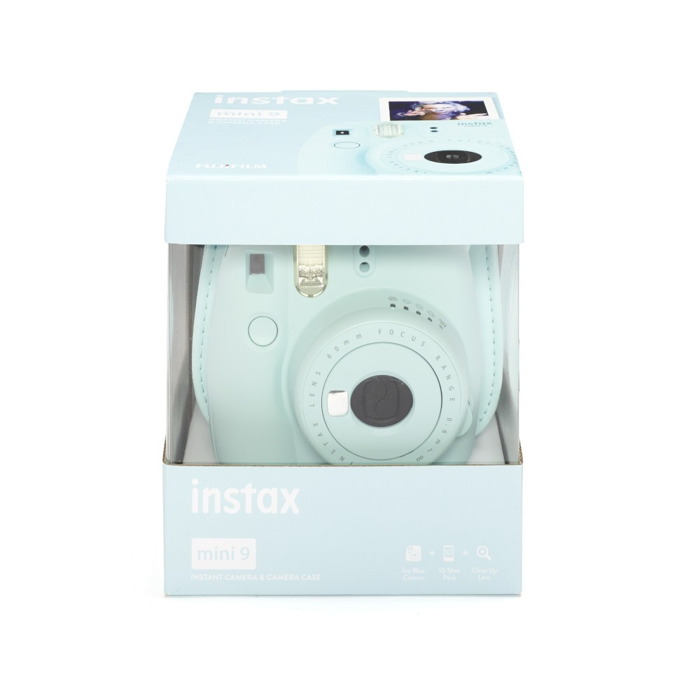 Kit Fujifilm Instax Mini 9 Ice Blue (Camara+funda+10pk)