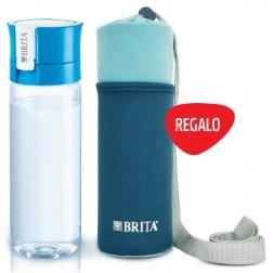 Botella Agua Brita Fill&Go 0,6l Azul+funda Neopren