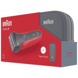 Afeitadora Braun 3-300s Serie 3 Roja Recargable