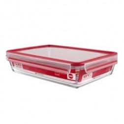 Contenedor Portalimentos Emsa 3l Cristal Rect Rojo