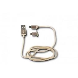 Cable Datos/Cargador Ksix 2en1 Micro Usb Dorado