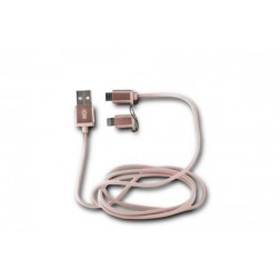 Cable Datos/Cargador Ksix 2en1 Micro Usb Rosa