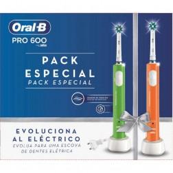 Cepillo Dental Braun Oral-B Pro600 Duo Naranja + Verde