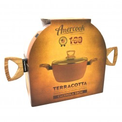 Cacerola Amercook Ter0528 Terracotta Induccion 28cm Tapa